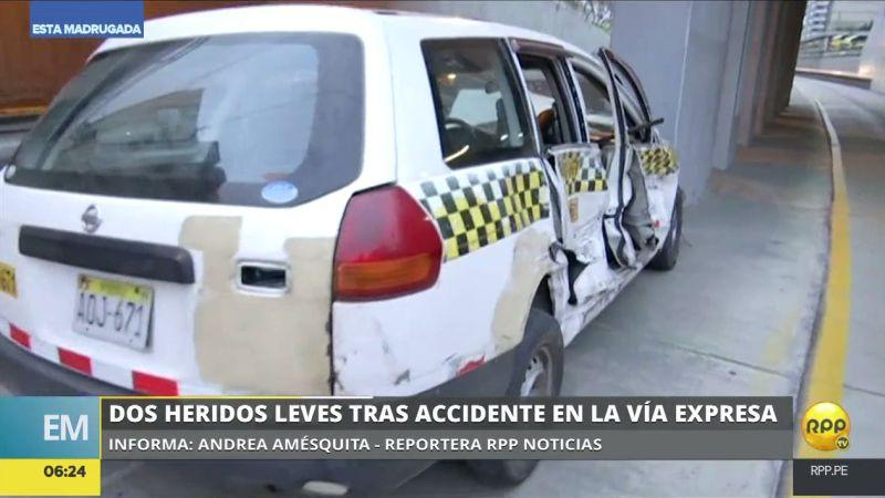 El taxi accidentado terminó en el carril del Metropolitano.
