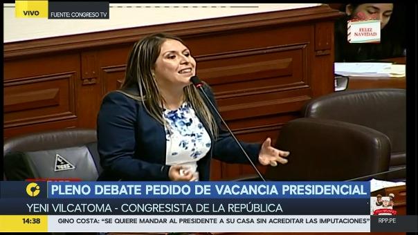 La congresista independiente Yeni Vilcatoma apoyó la vacancia del presidente Kuczynski, pero su discurso no fue el más brillante.