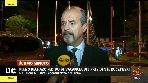 Mauricio Mulder voto a favor de la vacancia de Pedro pablo Kuczynski (PPK)