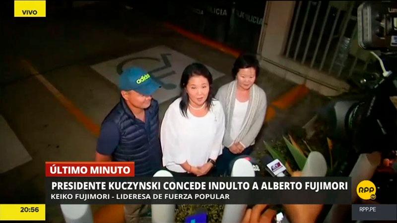 La lideresa de Fuerza Popular ya había visitado el sábado por la noche a su padre en la clínica Centenario, luego de que fuera ingresado de emergencia por un cuadro de hipotensión.