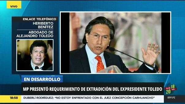 El abogado de Alejandro Toledo, Heriberto Benítez, se comunicó con Central de Informaciones de RPP Noticias para hablar sobre el caso.