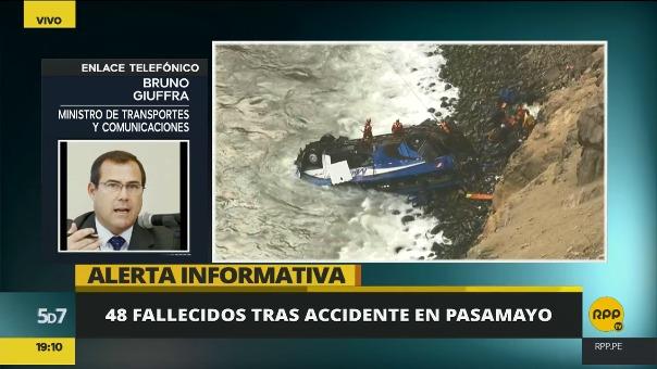 El ministro de Transportes Bruno Giuffra dijo que el mayor motivo de los accidentes no son las carretearas sino el exceso de velocidad.