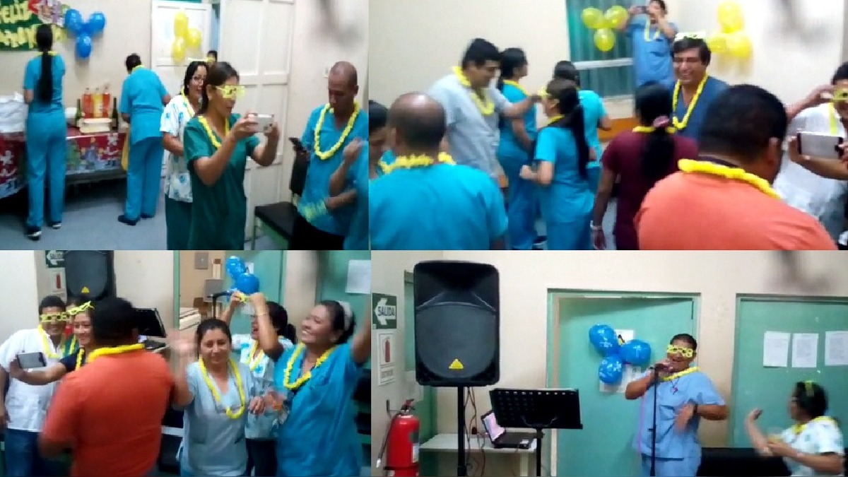 En el ambiente de Rayos X se les aprecia bailando y tomándose fotos, incluso uno de los trabajadores ánima la reunión con karaoke.
