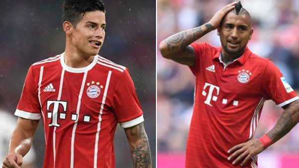 James Rodríguez y Arturo Vidal son compañeros en Bayern Munich desde la llegada del colombiano a inicios de la temporada 2017-18.