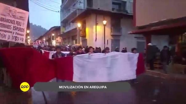 Así se realizó la movilización contra el indulto en Arequipa