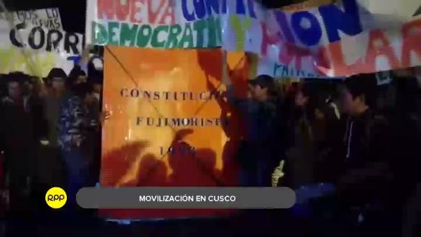Así se realizó la movilización contra el indulto en Cusco