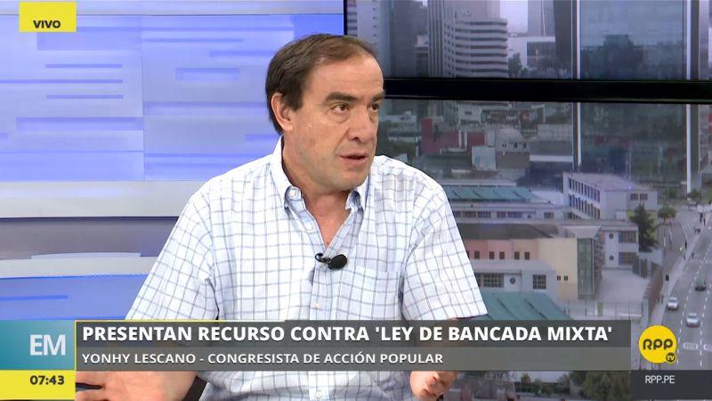 Yonhy Lescano respondió las críticas del fujimorismo por el recurso presentado contra la llamada 'ley de bancada mixta'.