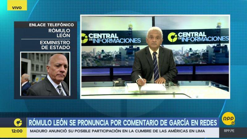 Rómulo León culpó a Alan García de la desunión en el APRA.