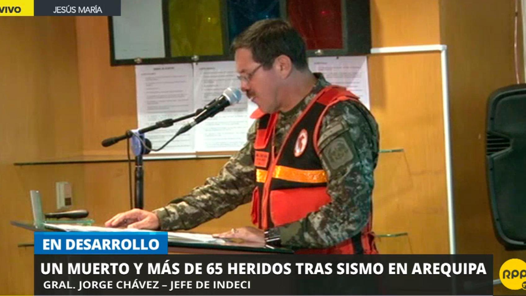 El general Jorge Chávez, jefe de Indeci, presentó su reporte desde el COEN
