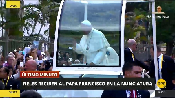 El recorrido del papa Francisco en su primer día en Lima.