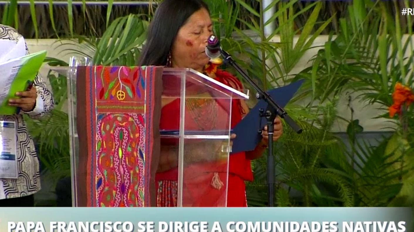 María Luzmila Bermeo habló en representación de la comunidad Awajún.