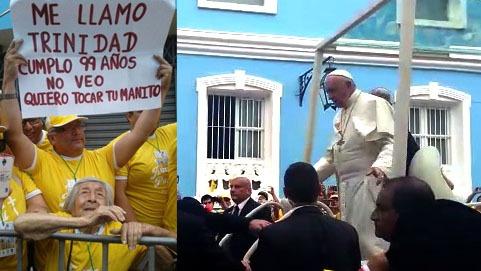 El papa Francisco atendió el pedido de Trinidad Peralta, por quien descendió de su papamóvil para saludarla.