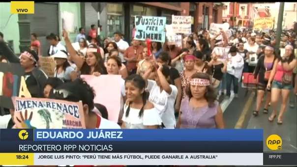 Los manifestantes piden justicia en el caso de la menor asesinada en San Juande Lurigancho.