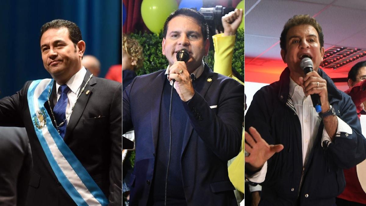 De izquierda a derecha: el presidente de Guatemala, Jimmy Morales; el candidato costarricense Fabricio Alvarado; y el excandidato hondureño Salvador Nasralla, tres de las nuevas caras en la política latinoamericana.
