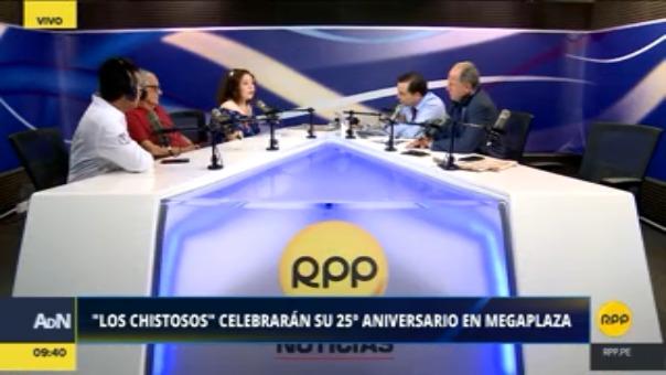 Los humoristas Guillermo Rossini, Hernán Vidaurre y Giovanna Castro visitaron el set de Ampliación de Noticias.
