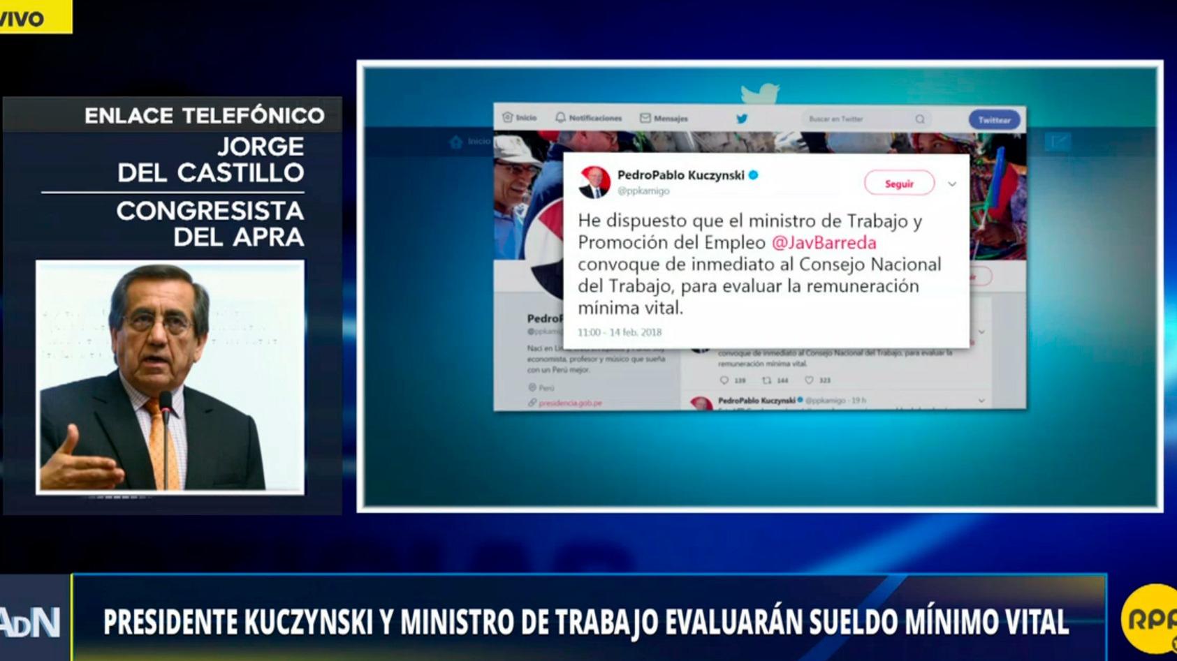 El presidente Kuczynski y el ministro de Trabajo Javier Barreda evaluará elevar el sueldo mínimo vital.