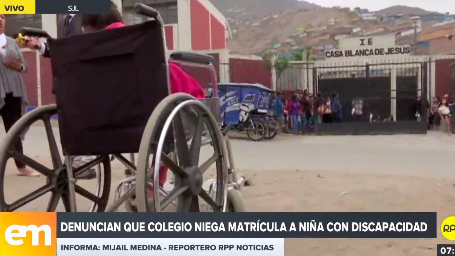 Denuncian que colegio niega matrícula a niña con discapacidad en San Juan de Lurigancho.