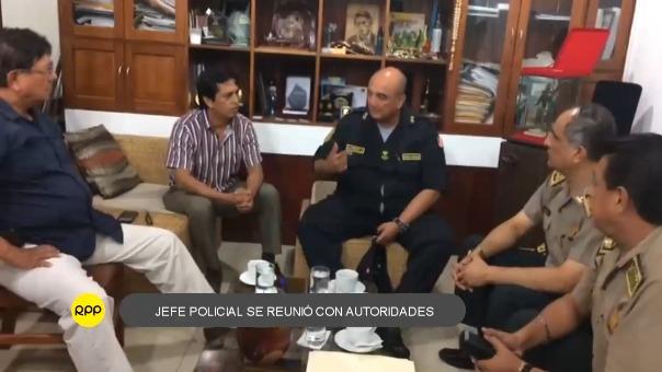 General Richard Zubiate Talledo se reunió con autoridades donde acordaron una serie de medidas para enfrentar la delincuencia.