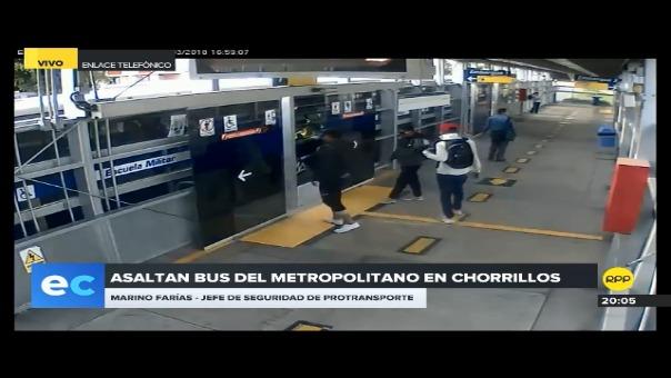 Video de los sospechosos captado por una cámara de seguridad de la estación Escuela Militar (Chorrillos) del Metropolitano.