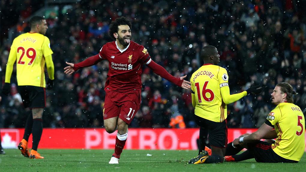 Mohamed Salah se despacha con 4 goles ante el Watford.