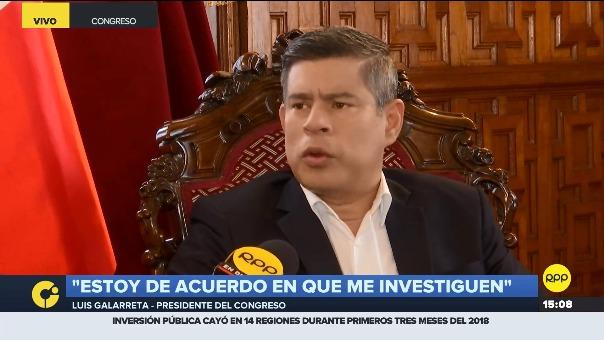 El presidente del Congreso, Luis Galarreta, respondió en exclusiva para RPP.
