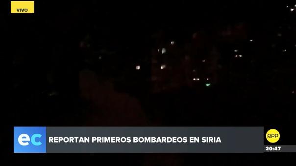 En los primeros registros del bombardeo a Damasco se puede apreciar que la ciudad aún se encuentra a oscuras.