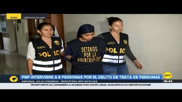 Presentación de los seis detenidos en la Dirincri, Cercado de Lima.