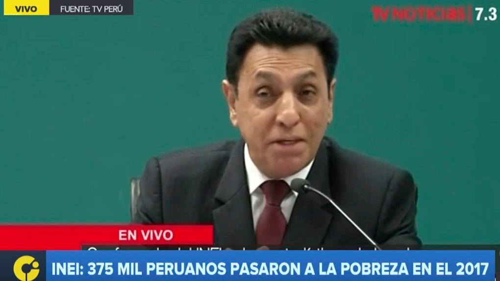El jefe del INEI, Aníbal Sánchez, explicó las razones por las que 375,000 peruanos pasaron a situación de pobreza en 2017.