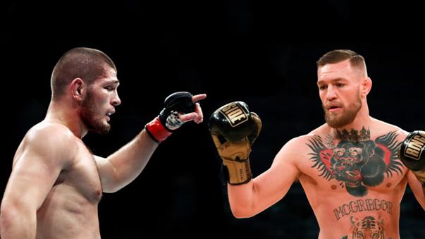 Khabib Nurmagomedov (izquierda) peleó con el famoso Conor McGregor.