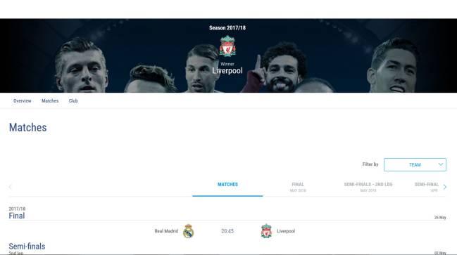 Aquí el error en la página de la UEFA.