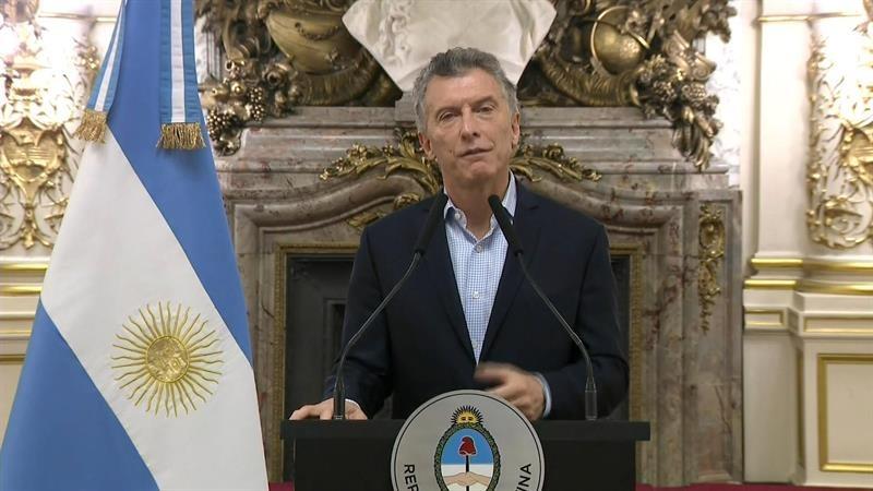 El presidente Mauricio Macri durante una alocución en Buenos Aires.