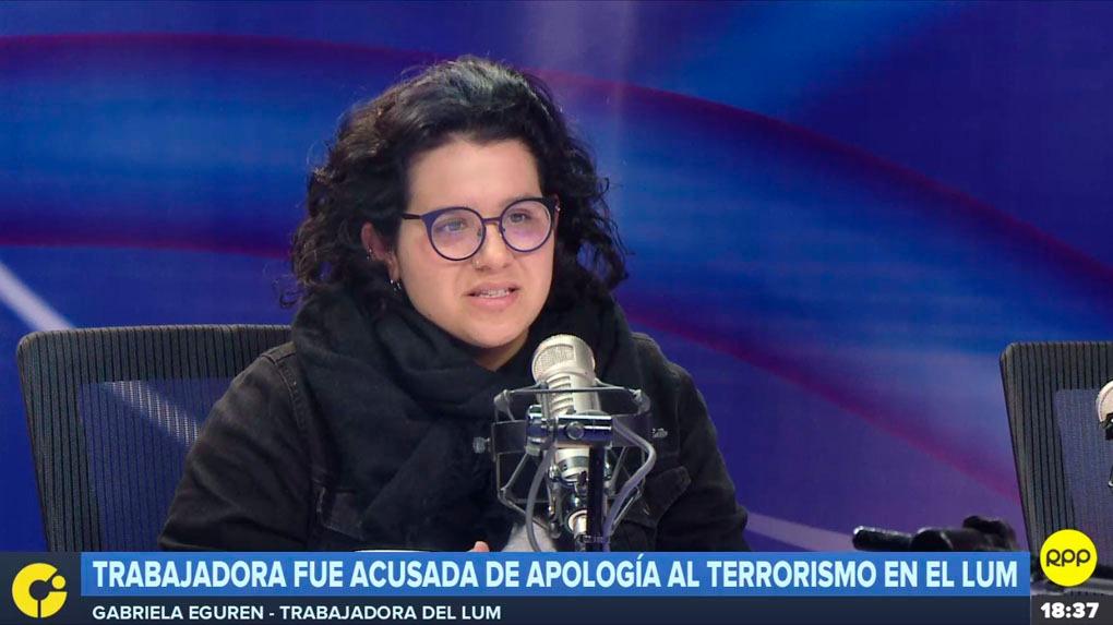 Gabriela Eguren, ex funcionaria del LUM, fue acusada de apología al terrorismo por el congresista Edwin Donayre.