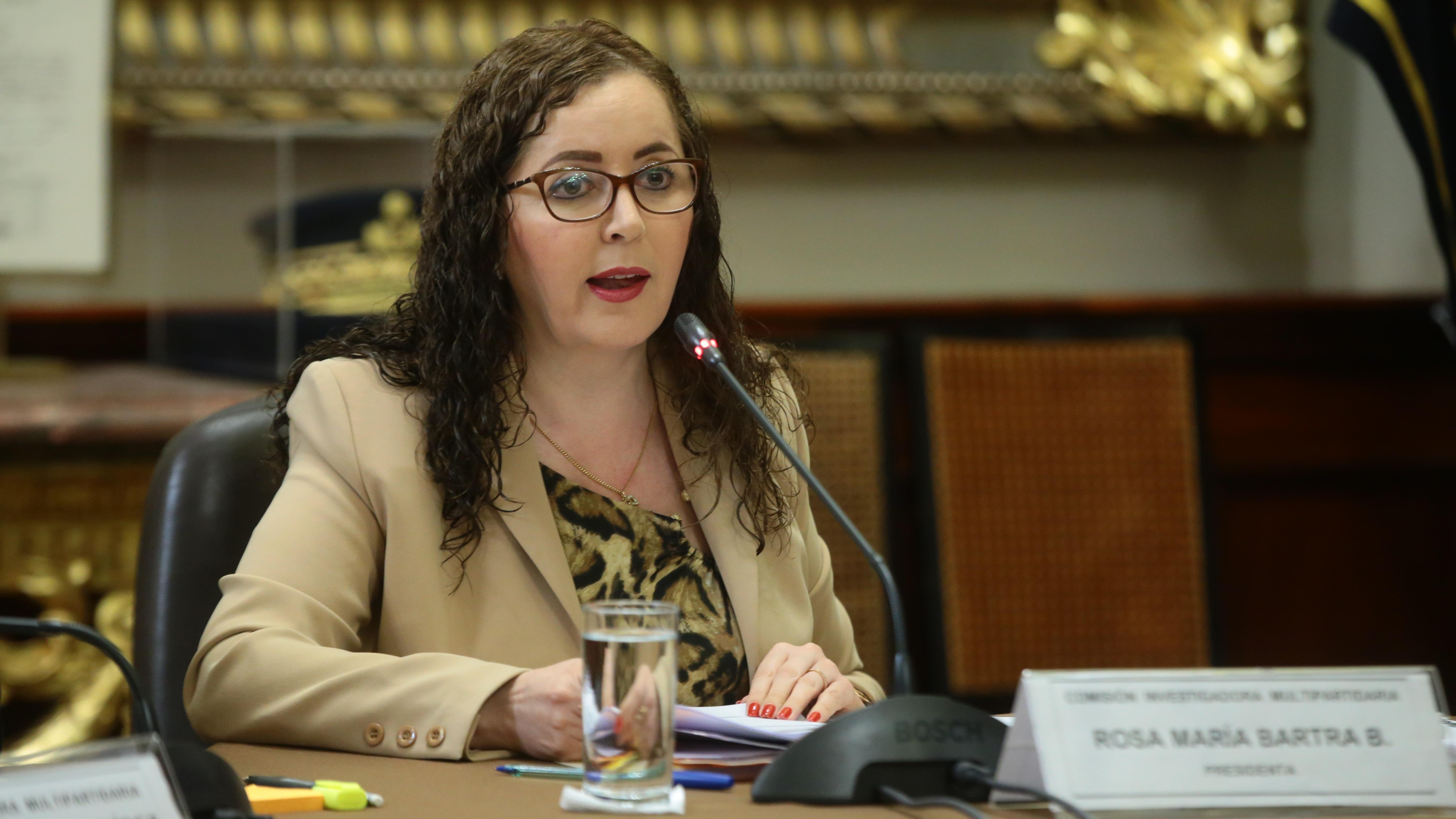 Rosa Bartra en una sesión de la Comisión investigadora del caso Lava Jato.