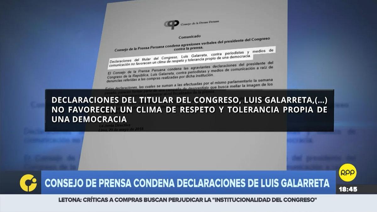 La institución emitió el comunicado y pidió explicaciones al presidente del Congreso.