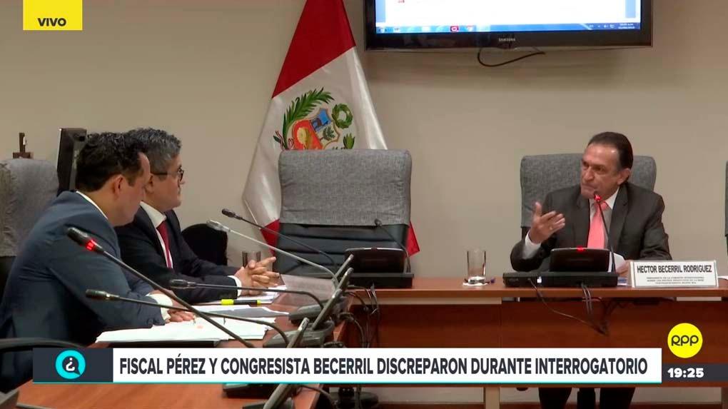 Fiscal Pérez y congresista Becerril discreparon durante interrogatorio.