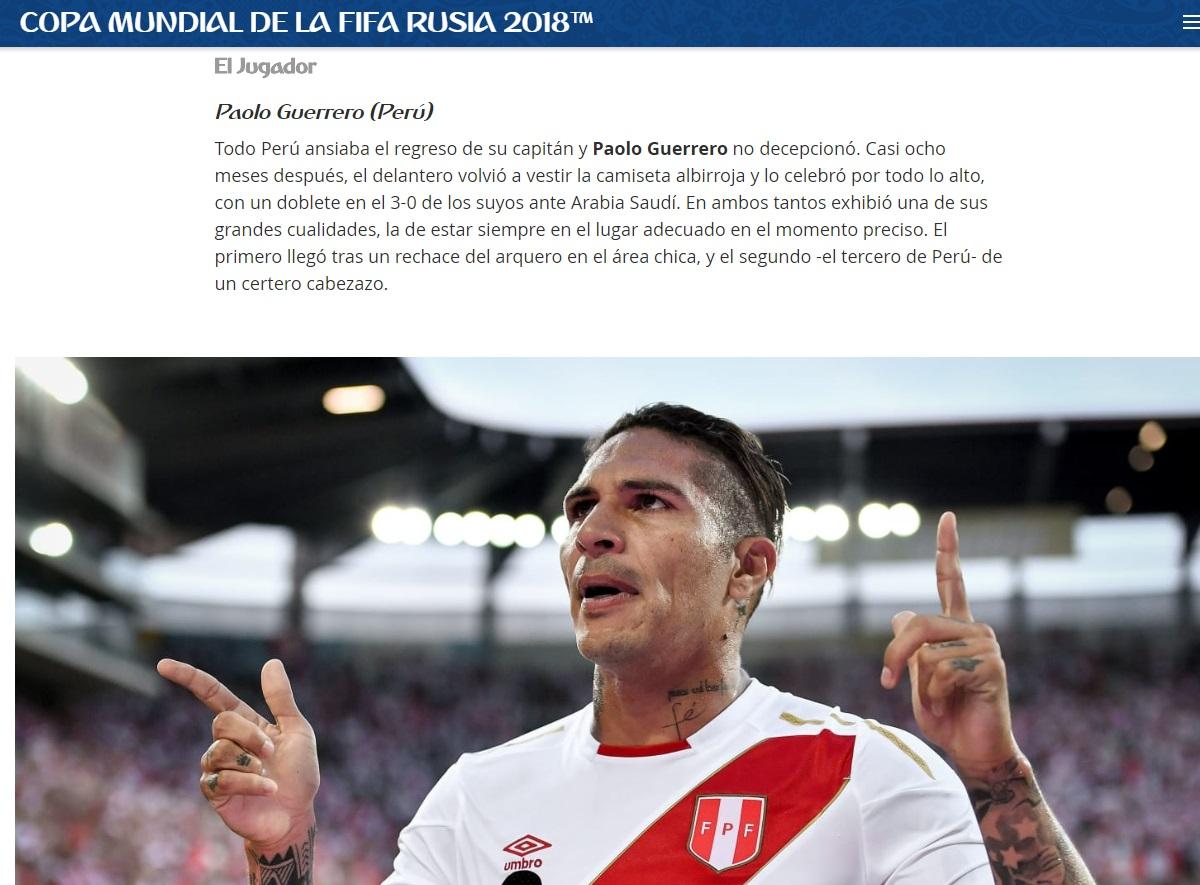 Así destacó la FIFA a Paolo Guerrero.