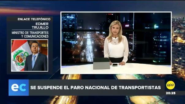 El ministro Edmer Trujillo explicó los acuerdo con los transportistas en RPP.
