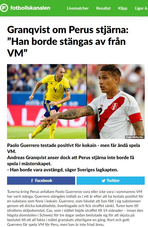 Andreas Granqvist fue reconocido como el mejor jugador de Suecia en el 2017.