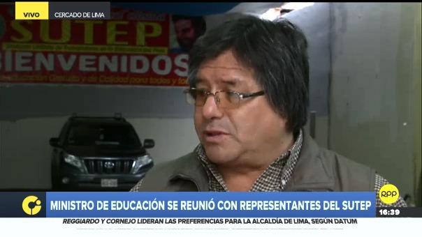 Hamer Villena Zúñiga, dirigente nacional del Sindicato Único de Trabajadores en la Educación del Perú (Sutep), comentó sobre las negociaciones con el Minedu.