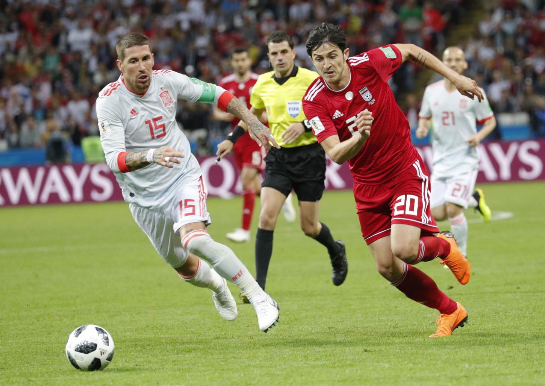El defensa de España Sergio Ramos ante Irán en el Mundial.