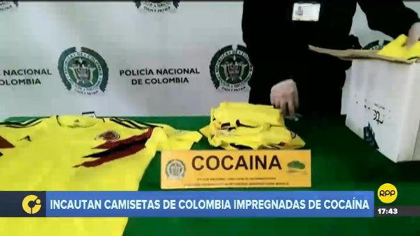 Incautación de camisetas de la selección de Colombia impregnadas con droga.