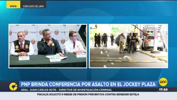 El general PNP Juan Carlos Sotil en conferencia de prensa.
