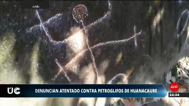 Los estudiantes realizaron pintas con tiza en los petroglifos de Huanacaure.
