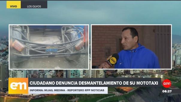Ciudadano denuncia desmantelamiento de su mototaxi.