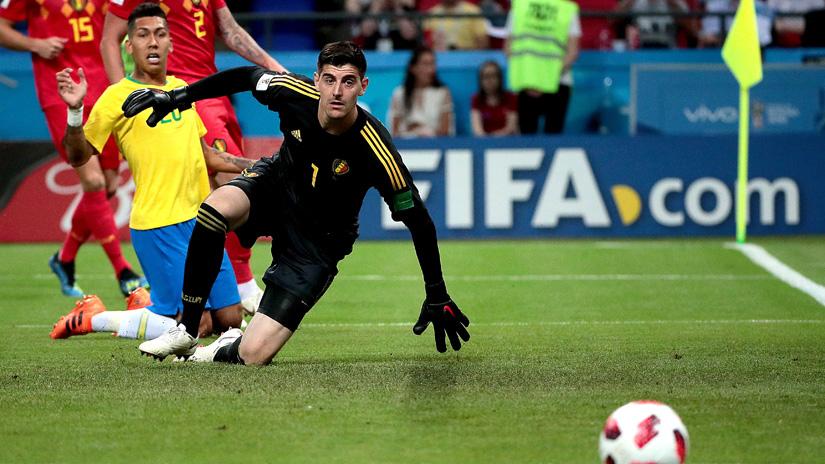 Thibaut Courtois fue una de las figuras de Bélgica en cuartos de final del Mundial.