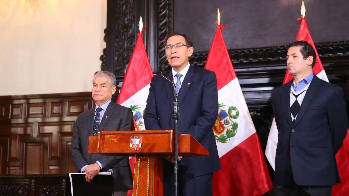 """El jefe de Estado, Martín Vizcarra, durante el anuncio de la creación de la """"Comisión de Reforma del Sistema de Justicia"""""""