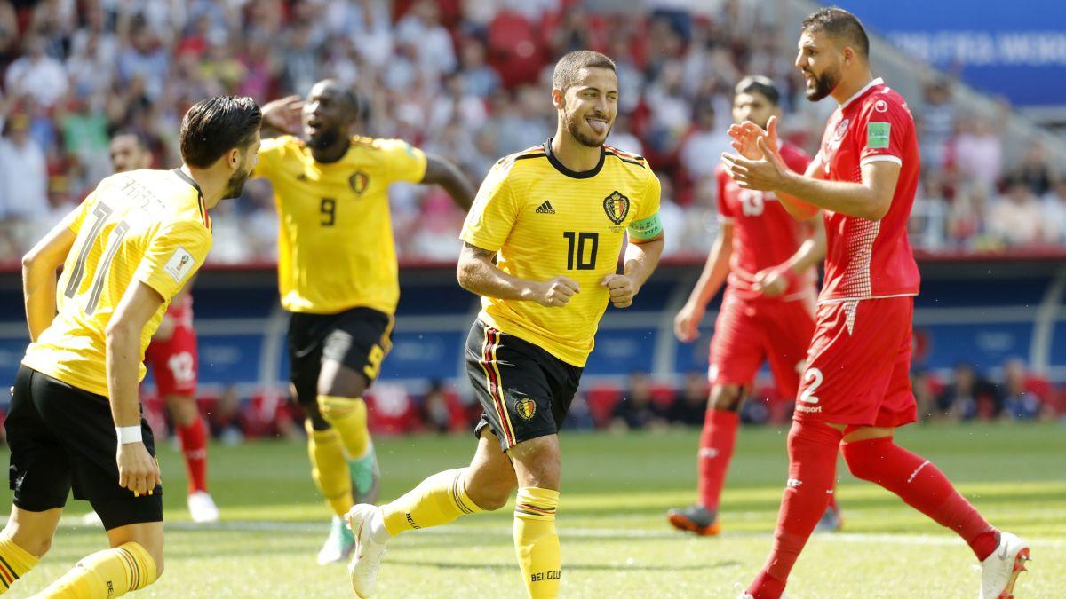 Hazard celebra el 1-0 de Bélgica ante Túnez.
