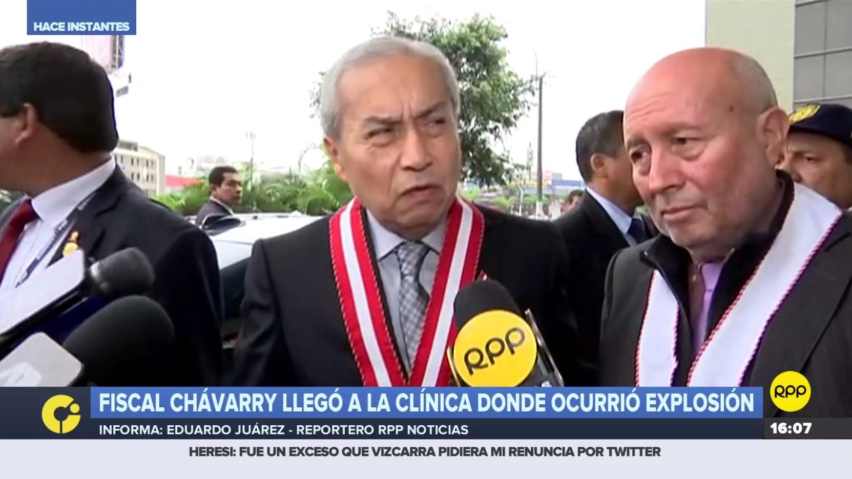 Fiscal Pedro Chavarry llegó a la clínica en San Isidro donde ocurrió explosión.