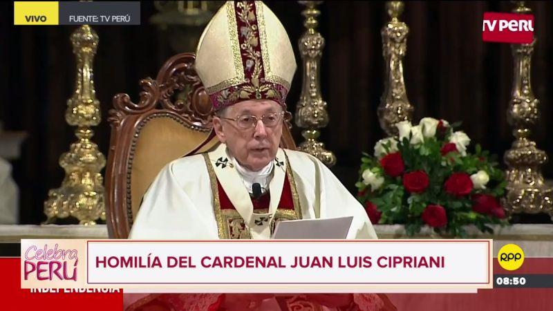 Juan Luis Cipriani presidió la Misa Solemne y Te Deum en la Catedral de Lima.