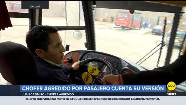 El chofer de transporte público Juan Casimiro fue agredido por un usuario el 31 de julio.